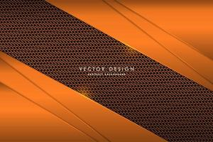Metallic orange layered corners over carbon fiber texture vector
