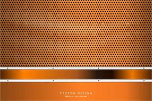 Orange and silver border with carbon fiber texture vector