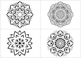 Set of black and white mandalas isolated on white vector