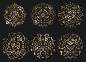 Set of gold mandalas with floral ornament pattern vector