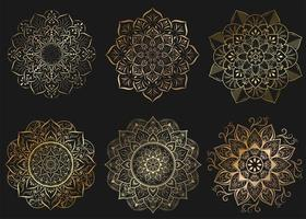 Set of gold mandalas with vintage floral style