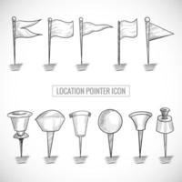 Hand drawn location pointer sketch set