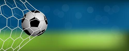 Realistic soccer or football in net with copy space vector