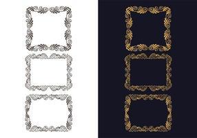 Hand drawn decorative floral frame set