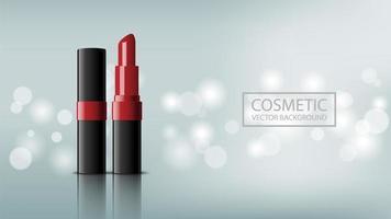 Realistic red lipstick cosmetic design vector