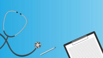 Realistic stethoscope and clipboard isolated on blue