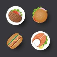 Traditional food simple design icon set