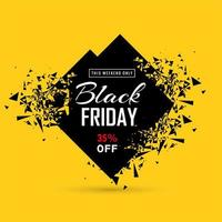 Black friday sale banner with exploding diamond vector