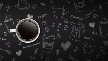 Coffee cup on hand drawn doodle background