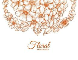 Sketch style orange flower design vector