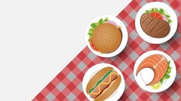 Simple food on checkered tablecoth with copy-space vector