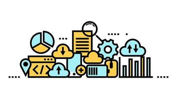 Cloud computing, data storage, web services line art icons