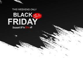 Black and white black friday brush stroke design vector