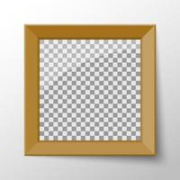 Realistic blank photo frame with wood border vector