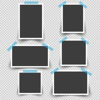 Blank photo frames with sticky tape set vector