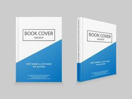 White and blue book cover mockup template