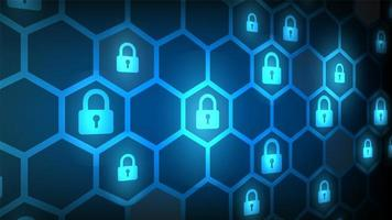 Cyber security angled lock and hexagon pattern design vector