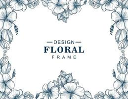 Beautiful blue floral frame vector