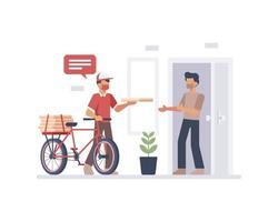 diseño de mensajería en bicicleta de entrega de alimentos vector