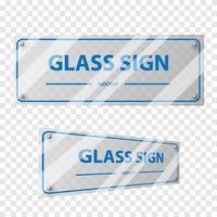 Glass signage mockup set vector