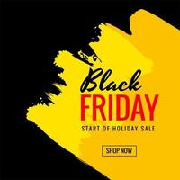 Black Friday sale with brush stroke banner background vector