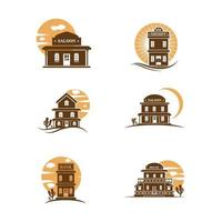 Old west building in front of moon or sun set vector