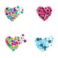 Colorful dotted hearts set