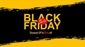 Black friday sale brush stroke yellow and black banner vector