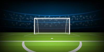 Soccer or football stadium with goal from penalty position vector