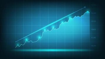 Stock market graph trading chart for business and finance