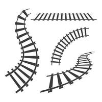 Train tracks icon set