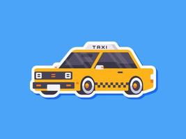 pegatina de taxi en estilo plano