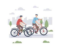 Men Riding Bikes Outdoors vector