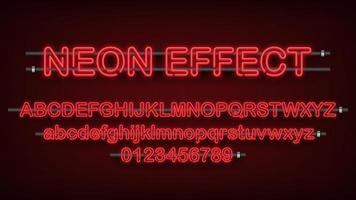 luz de neón roja alfabeto inglés y números