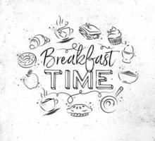 Hora del desayuno firmar en estilo grunge dibujado a mano