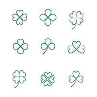Green clover leaf line art icons vector
