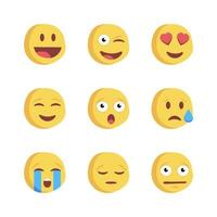 Emoji social network reactions icons vector