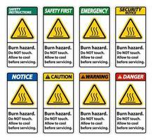 conjunto de señales verticales de peligro de quemaduras