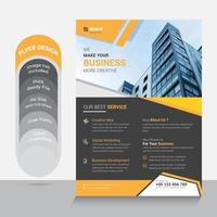 Yellow and gray corporate flyer with angle design vector