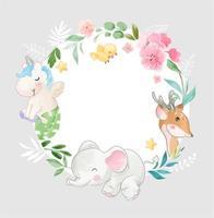 lindo animal y flores en forma de círculo