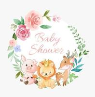 corona de flores de baby shower con amigos animales