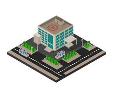 Isometric Hospital On White