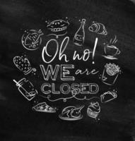 We are closed sign in chalk style