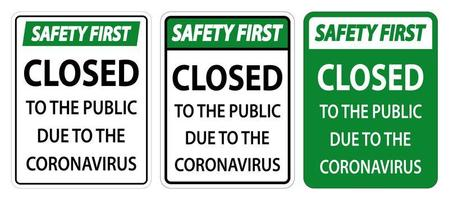 Closed to public due to coronavirus signs vector