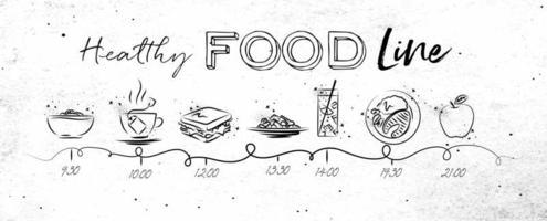 línea de tiempo de comida saludable en estilo dibujado a mano
