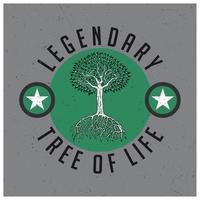 diseño de camiseta legendario árbol de la vida