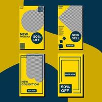 Social media yellow and blue template story bundle