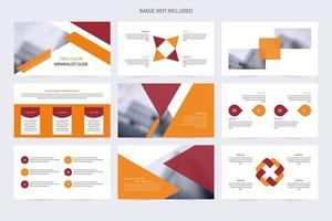 presentación de diapositivas de presentación minimalista roja y naranja