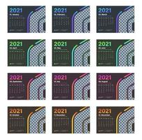 Modern multiple color desk calendar 2021