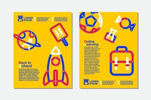 Back to school, online learning yellow flyer set vector